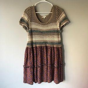 Easel crochet mini dress floral boho knit M